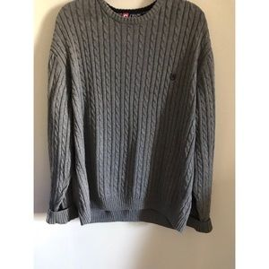 Gray Chaps pullover Crewneck sweater